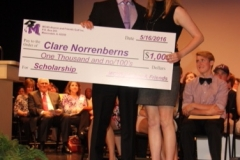 Bob Spurlock with Scholarship Recipient Clare Norrenberns on Honors Night