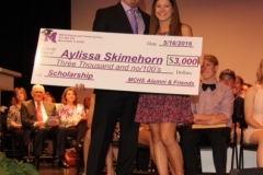 Bob Spurlock with Scholarship Recipient Aylissa Skimehorn on Honors Night